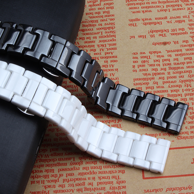 Pure Ceramic 14mm 16mm 18mm 20mm 22mm Watchband Strap Stainless Steel Erfly Buckle For Diamond Wristband Mens Ladys