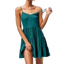 dress women summer 2019 sleeveless dress sling V-neck swing A word mosaic dress solid color sexy elastic waist loose dress недорого