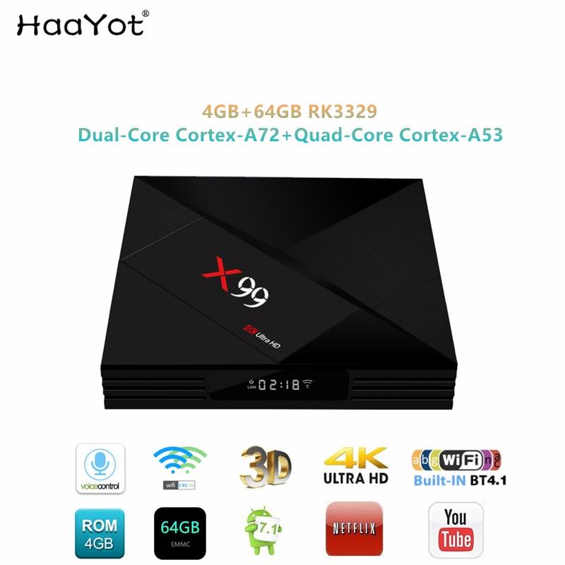 HAAYOT 2019X99 Android 7,1 caja de TV RK3399 seis Core 4GB RAM 64GB ROM con control remoto por voz 2,4/5G WiFi Super UHD 4K Smart Set Top Box-in Decodificadores from Productos electrónicos    1