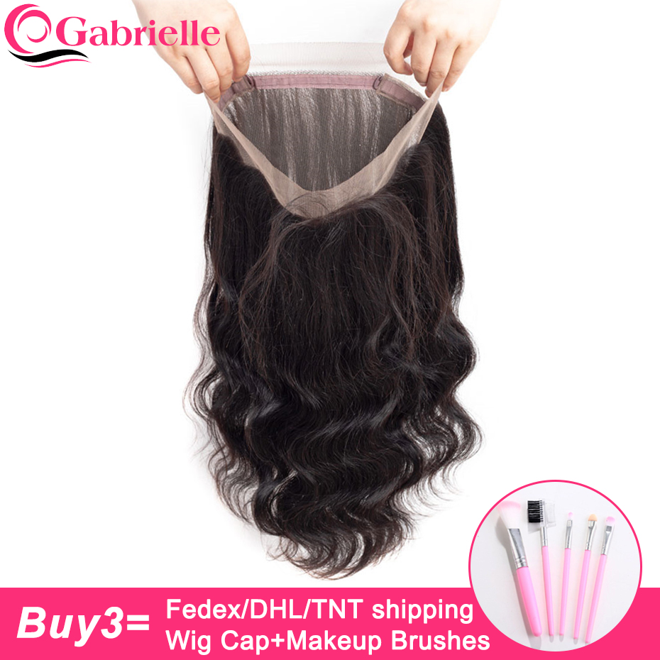 Gabrielle Lace-Frontal-Closure Hair Body-Wave Pre-Plucked Malaysian 360 with Baby Non-Remy