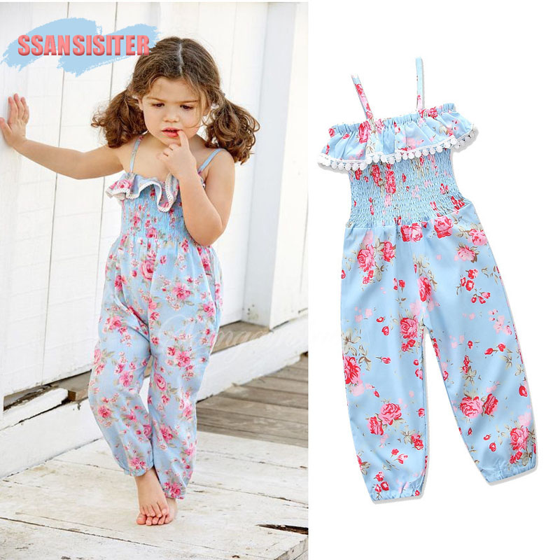 Girl BodySuit Flower Printed Summer Baby Clothes Kids Jumpsuits Ruffle Princess BodySuit Clothing Roupas Bebes Cotton One-Pieces
