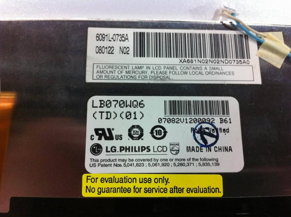 New original for LG 7 inch digital screen LB070WQ6-TD01 new 7 inch