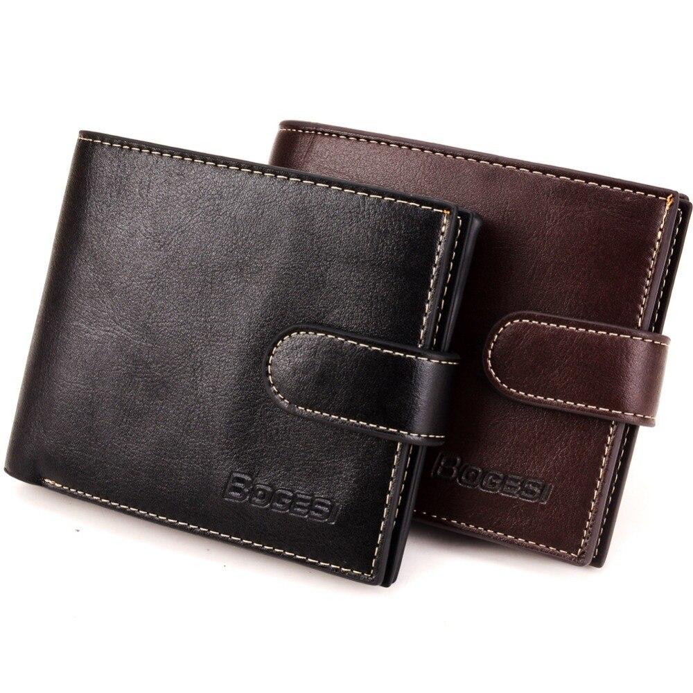 Moda 2020 dos homens do vintage marca de couro luxo carteira curto fino masculino bolsas dinheiro clip cartão de crédito dólar preço