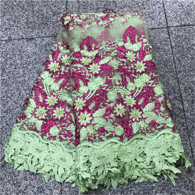 New Design African lace fabric with Beads nigerian lace fabric 2018 high quality sewing materials for
