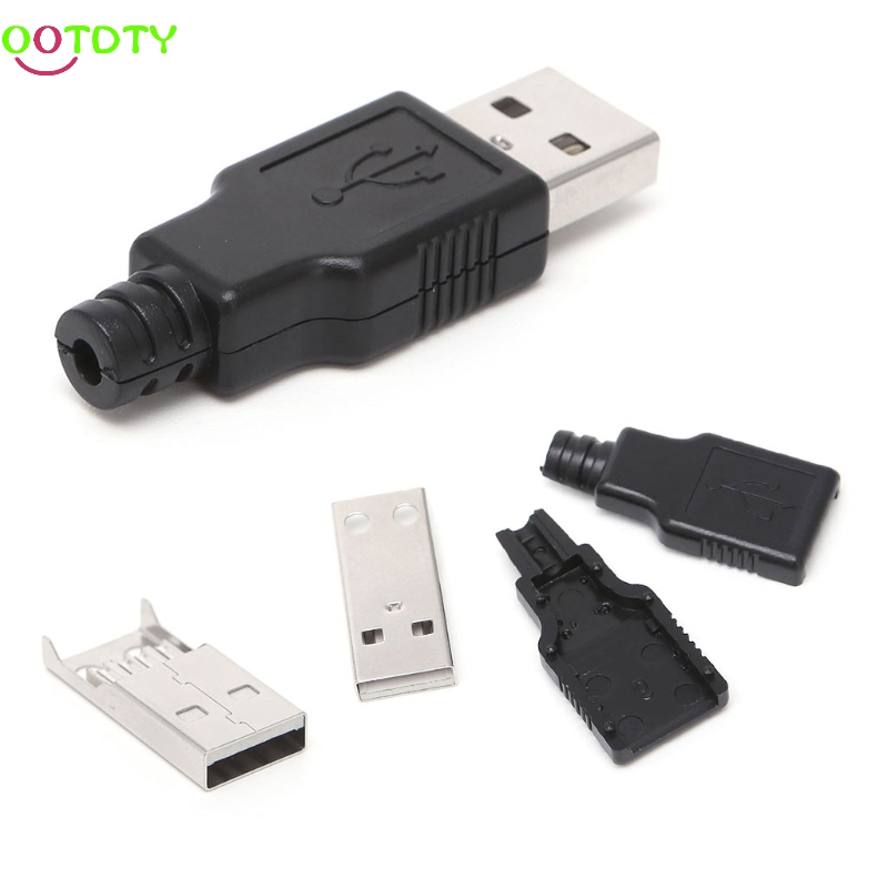 10 Sets DIY USB 2.0 Type A Male USB 4 Pin Plug Socket Connector w/Plastic Cover  828 Promotion diy usb 4 pin male type a socket connector silver 10 piece pack