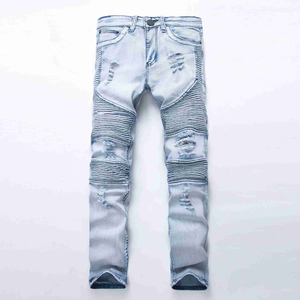 #1941 2016 Moto jeans men Fashion Distressed Slim fit Pleated Ripped jeans for men Jogger jeans Motorcycle denim biker jeans