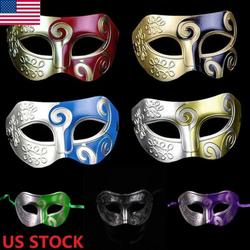 Black Simple  Elegant Masquerade For Men Mask Costume Prom Party Mask