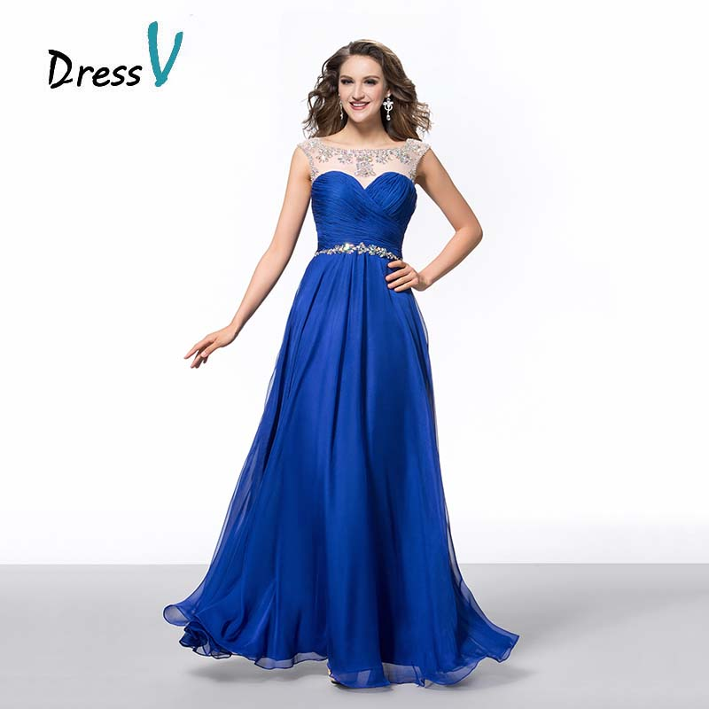 Aliexpress Dressv Royal Blue Chiffon Long Prom Scoop Beaded Evening Backless Rhinestones Formal Wedding Party Bridal Gowns From