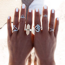 6PC/Set Female Vintage Rings Set with Natural Stone Finger Ring Antique Silver Plated Ethnic Retro Rings for Women Bagues