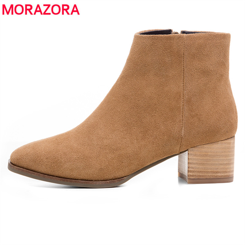MORAZORA 2018 new high quality cow leather women boots square heel autumn winter ankle boots for women ladies fashion shoes 2017 new fashion lace up women boots genuine leather square heel black autumn winter sexy brand ladies ankle boots women shoes