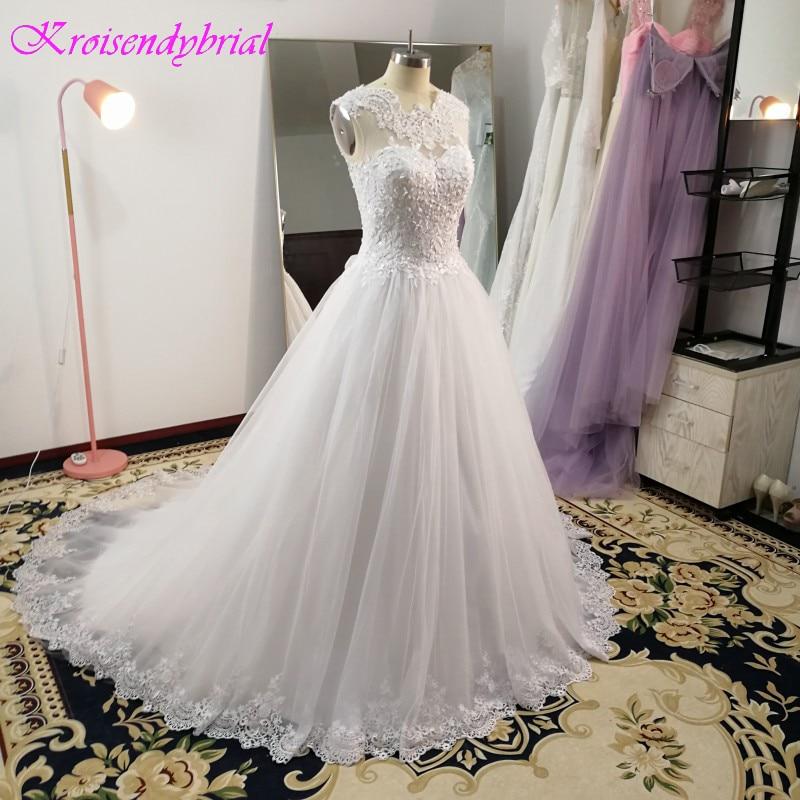 SQM248 Vestidos De Noiva Custom Made Ball Gown Sleeveless Lace Bride Dress Wedding robe de mariage