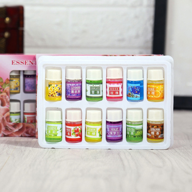 New 12PCS/Set 3ml Natural Plants Aromatic Fragrance Essential Oil Water-soluble Flavor Oil Spa Massage Oil Aromatherapy Supply