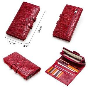 Image 5 - Contacts couro genuíno mulheres carteiras senhora bolsa longo carteira de jacaré elegante moda feminina embreagem com titular do cartão