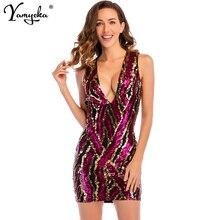 Sexy V Neck Red Sequins Summer Dress women Elegant Sleeveless Bandage Night Clubwear Party Dresses bodycon clothes Vestidos 2019 цена и фото