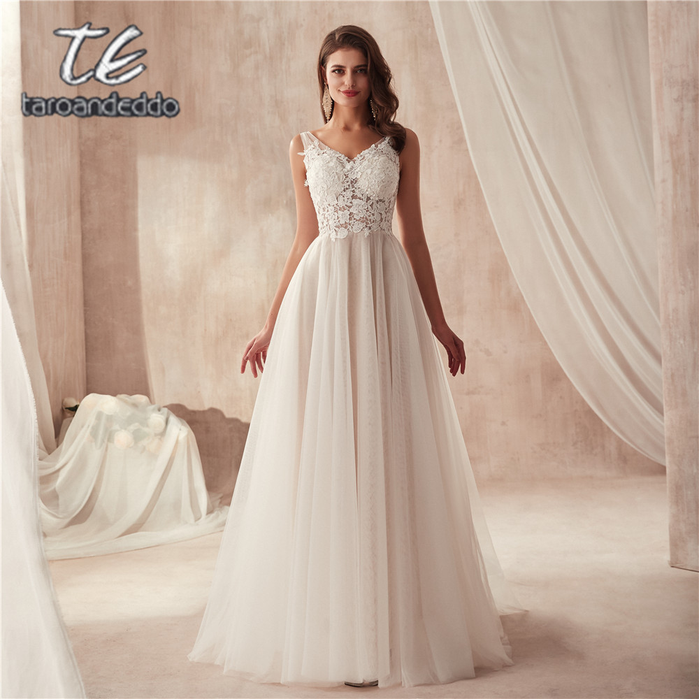 Fantastic See Through A line Lace Bodice Wedding Dress Flowing Tulle Simple Bridal Dress robe de