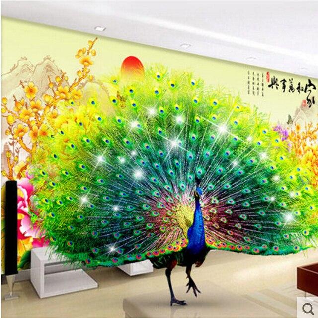 Wanddekoration Garten wohnzimmer home wanddekoration stoff poster schöne 3d bild pfauen
