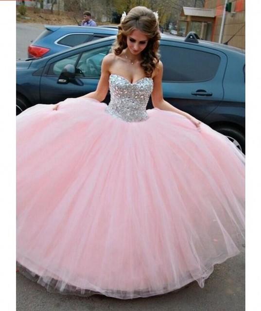 Cristais da faísca Doce 16 Dresses vestido de Baile Querida Rosa Vestidos Quinceanera Por 15 Anos vestido de Baile