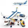 Marca DIY Bloques de Construcción de juguetes Modelo de Avión Terminal de Carga del Aeropuerto de La Ciudad Con 463 unids 7 muñecas Lego Compatible