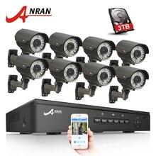 Anran 8CH 48 В PoE NVR системы видеонаблюдения ONVIF P2P 1080 P HD с переменным фокусным расстоянием 2.8 мм-12 мм IP Камера POE видеонаблюдения Комплект 3 ТБ HDD