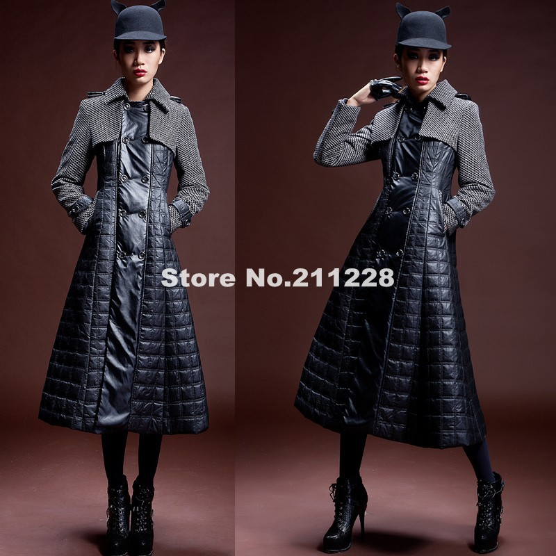 Autumn Womens Wool Thick Full Length Trench Coat , Winter PU ...