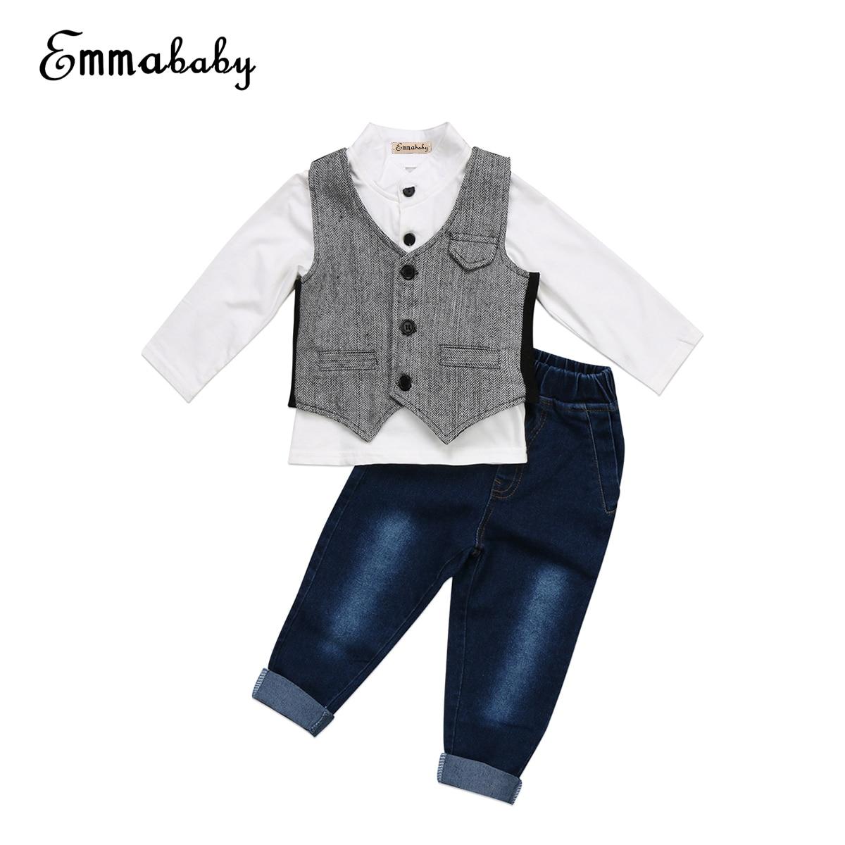 От 0 до 5 лет джентльмен Комплект детской одежды для мальчиков одежда для малышей Одежда для мальчиков деловой костюм жилет джинсы 3 шт. Одежд...