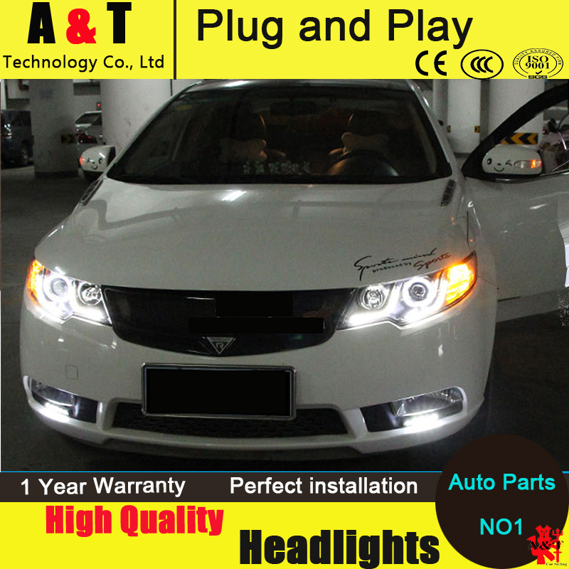 Car Styling For KIA FORTE headlight assembly 2011-2014 FORTE led headlight led drl projector headlight H7 with hid kit 2 pcs. car styling head lamp for bmw e84 x1 led headlight assembly 2009 2014 e84 led drl h7 with hid kit 2 pcs