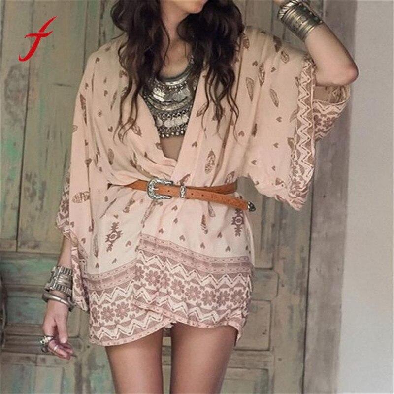 Feitong 2017 summer Womens Casual Vintage Boho Kimono Cardigan Printed Chiffon Shirts Loose Shawl Tops Cover up Blouse Women Top