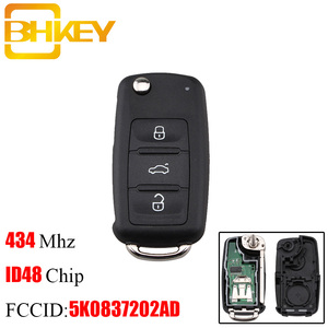 BHKEY 434Mhz Remote Car key For VW Volkswagen GOLF PASSAT Tiguan Polo Jetta Beetle 5K0 837 202AD 5K0837202AD For Seat For Skoda