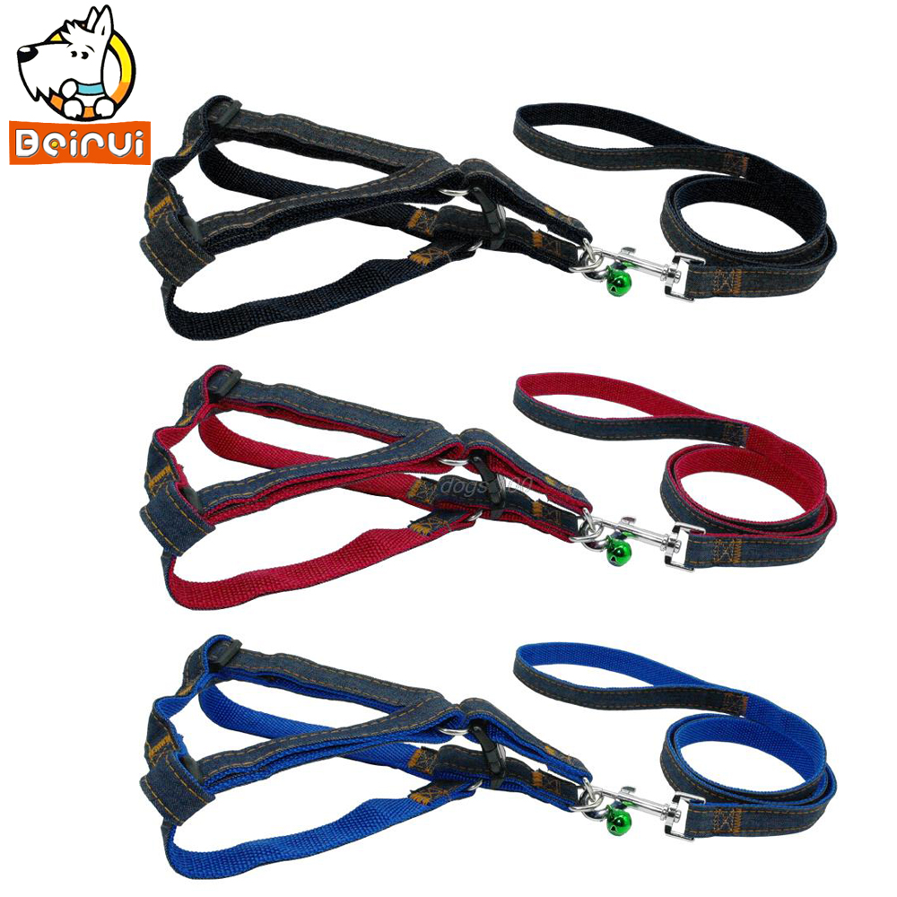 Denim And Nylon Dog Leash & Harness Set With a Cute Bell 3 Colors Blue Red  Black