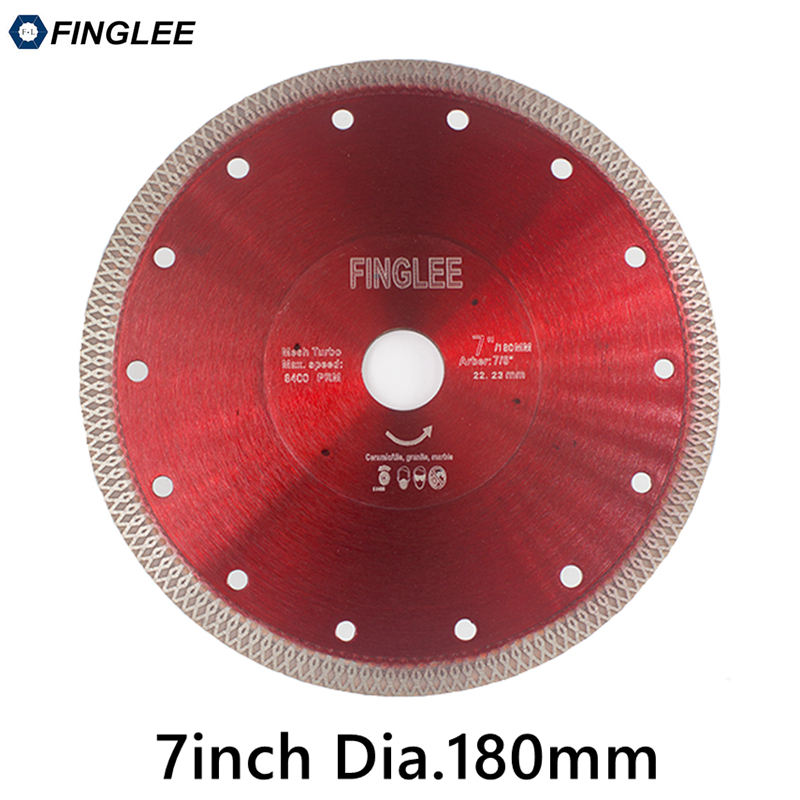 FINGLEE 1Pc 7in/180mm Ceramic Cutting Disc Diamond Saw Blade Turbo Wave Style for Granite,Ceramic,Porcelain,Stone Work