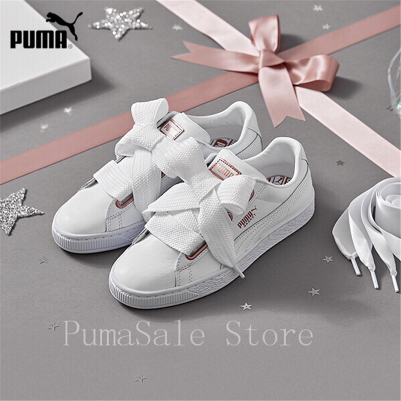 2018 PUMA Women's Basket Heart Leather WN's Low Top Sneakers 367817 01 367817 02 Black White Badminton Shoes Women Size 35.5 40