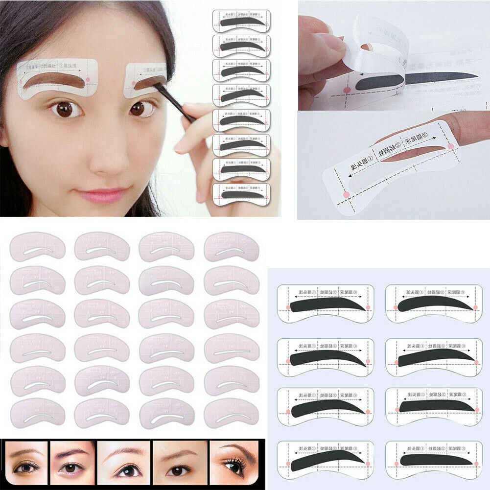 12Pairs/Set Eyebrow Stickers Card Shaping Stencil Grooming Template Makeup Tools
