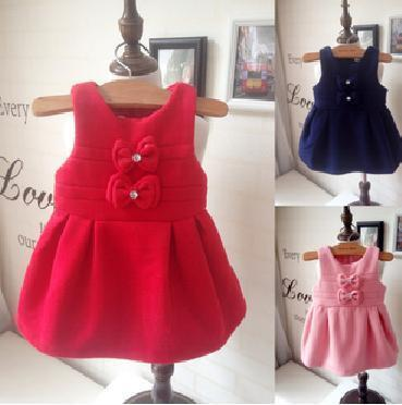Baby autumn wear vest dress children's children's wear 2015 autumn outfit princess dress children hair