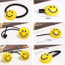 HOT Selling Cute Yellow Smile Hair Rope Elastic Hairband Rubber Band Girl Hairpin Clips Wholesale Fashion Women Hair Accessories(China)
