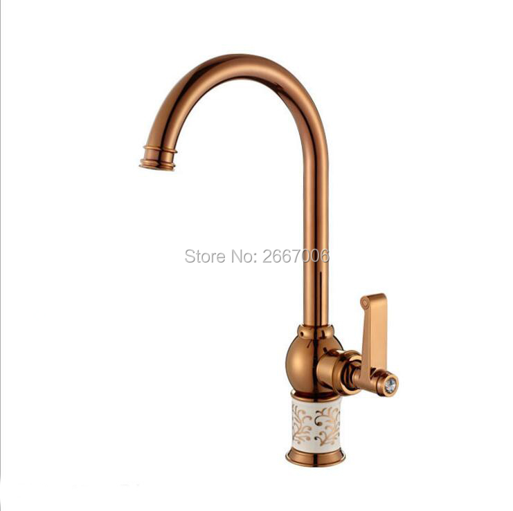 Free shipping Unique Design Marble Jade Faucet Tap Hot Cold Mixer Faucet Tap 360 Degree Swivel Spout Kitchen Sink Faucet GI422 led spout swivel spout kitchen faucet vessel sink mixer tap chrome finish solid brass free shipping hot sale
