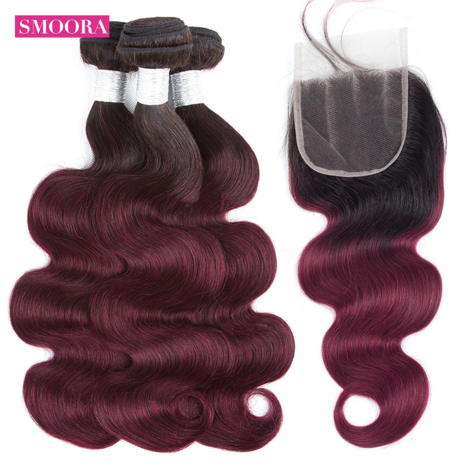 Ombre 1b 99J Brazilian Hair Weave Bundles Body Wave Human Hair 3 Bundles with Closure Free Middle Three Part Smoora Hair NonRemy