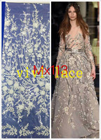 MX113 offwhite 3D applique french embroidery tulle mesh lace fabric for stage /wedding/evening dress/party,