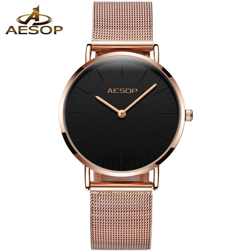 Ezopa marka panie zegarek kwarcowy różowe złoto Milanese stalowy pasek zegarki damskie na nadgarstek kobiety luksusowe zegarki na rękę Relogio Feminino nowy