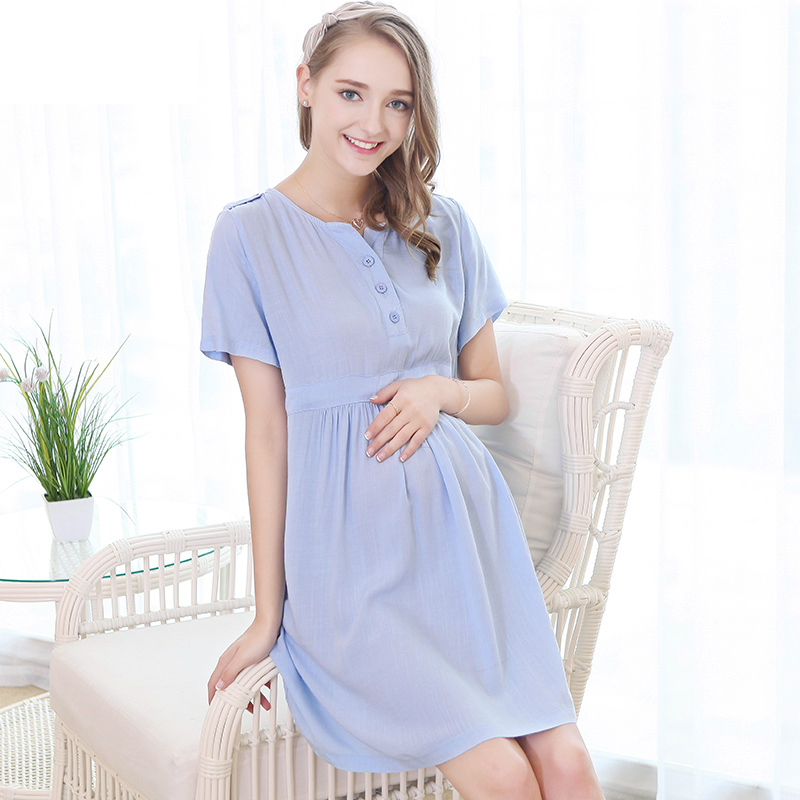 ФОТО Maternity Dress Plus Size Dress Broadcloth Button Half Solid Cute Bow You Will Like The Simple Feeling  Maternity Fashion