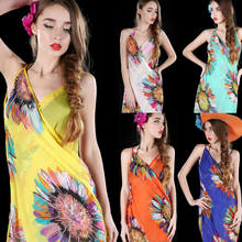 Women's Summer Pareo Dress Sarong Beach Bikini Swimwear Cover Up Printed Boho Scarf Wrap(China)