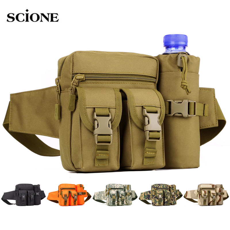 Military Tactical Waist Bag Molle Backpack Travel Bags Outdoor Camping Hiking EDC Nylon Hunting Water Bottle Tas Sports XA580WA image