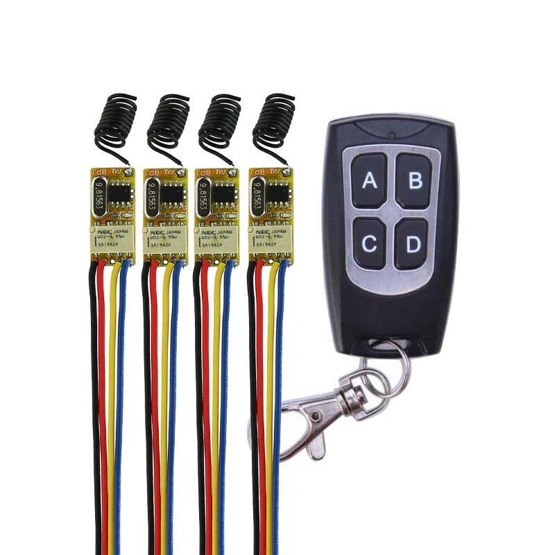 Micro Relay Contact Remote Switch Mini RF Button Switch 0V Switching Receiver 4CH independent 3.7V 4.2V 4.5V 5V 6V 7.4V 9V12V