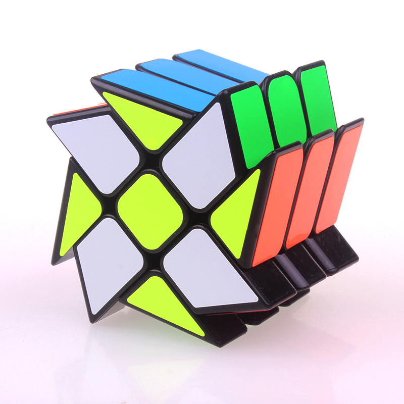 Original YJ Wind Wheel Cube Magic Speed Puzzle Cube ABS Sticker Cubo Magico Professional Educational Funny Toys For Children