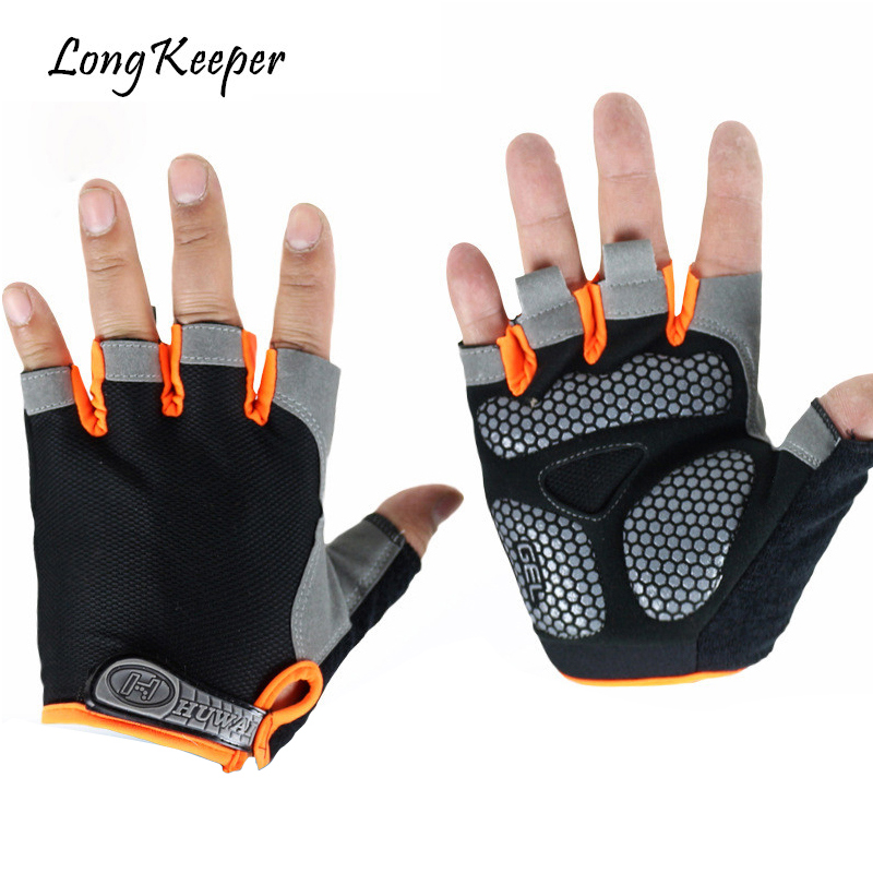 Men;s Sports Gloves Non-Slip Breathable Gloves Fitness With Gel Padded Lycra Workout Mittens Cycling Bicycle Guantes