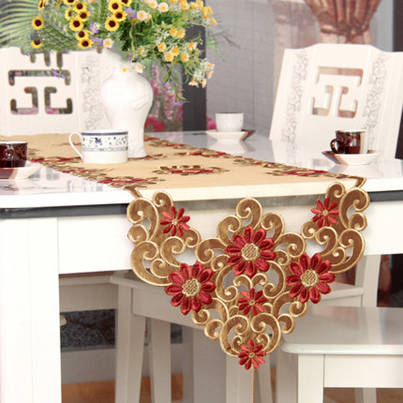 Table Runner Cloth Gold Color Christmas Sequin Decorative Embroidery Dining Table  Runners Wedding Decoration Cover