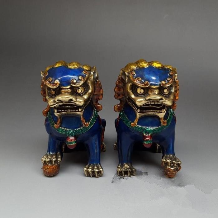 Antique copper lion lion on a cloisonne decorative antique bronze collection craft gift Home Furnishing decorations