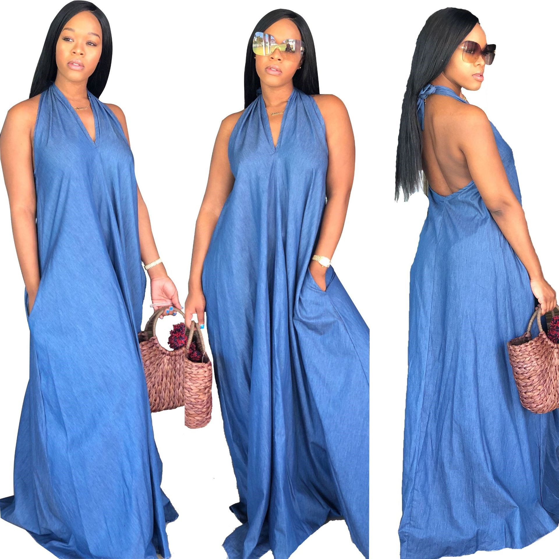 Summer Jeans Denim Halter Dresses Pocket Bodycon Women Fashion Casual Plus Size Dress Vestidos Loose Long Maxi Dress