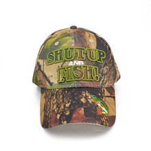 new arrival camouflage baseball cap 3D embroidery SHUT UP FISH hats unisex snapback hat travel caps
