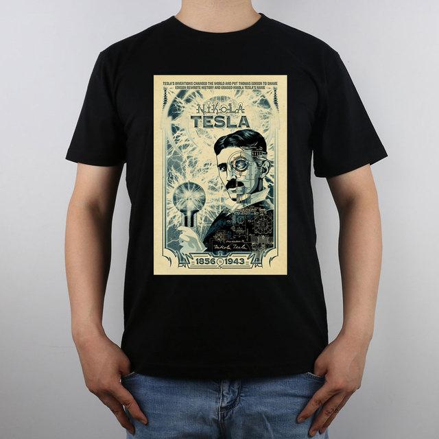 Inventor Nikola Tesla cartel Camiseta Top de Algodón Puro camiseta de Los Hombres Nuevo Diseño de Alta Calidad