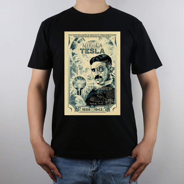 Nikola Tesla poster Inventor T-shirt Top Pure Cotton Men T shirt New Design High Quality